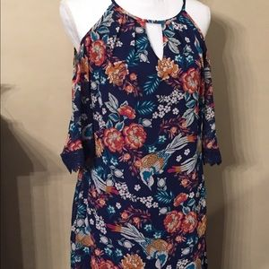 A. Byer tropical bird dress in blue size medium